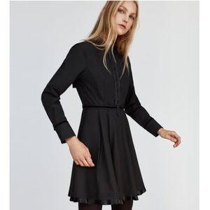 NWT ZARA POPLIN DRESS WITH PLEATED DETAIL SIZE: M